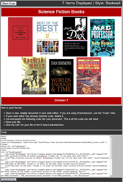 FacetBrowser bookwall output display