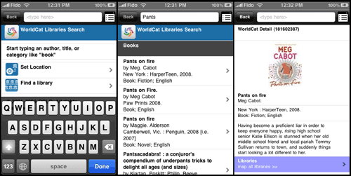 WorldCat Mobile App UI for search, list, and detail pages