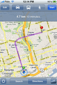 iPhone (Google) Maps application showing directions