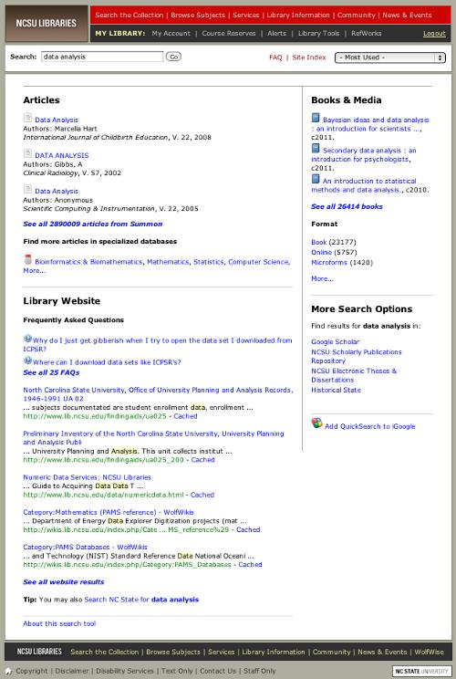 Pre-redesign QuickSearch
