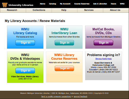 Image showing various library accounts for WMU users