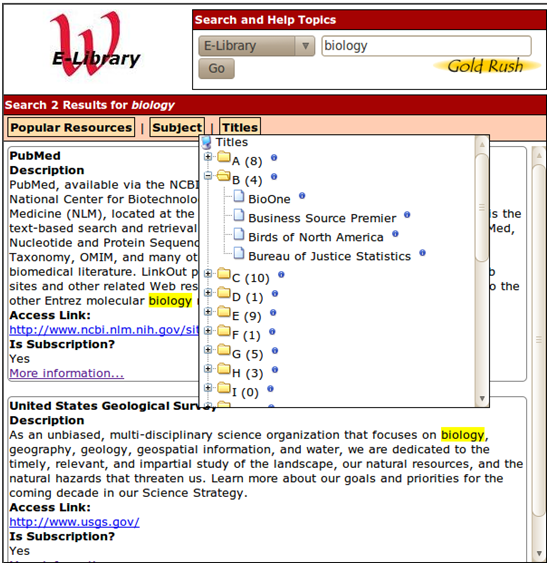 Figure 1: E-Library use of jQuery treeview plugin