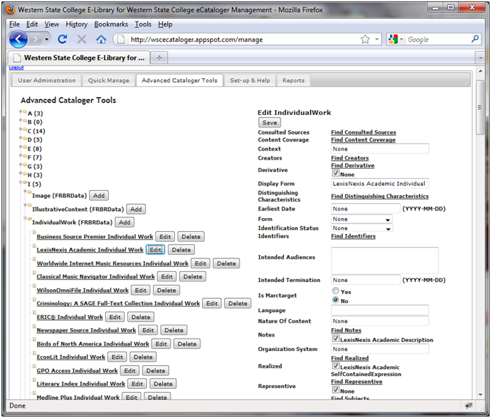 Figure 3: Edit View for the LexisNexis IndividualWork Instance