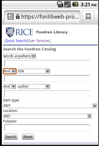 Figure 10: Advanced Search page