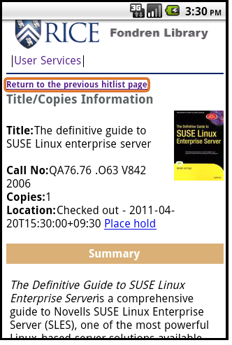 Figure 13: Title Holding Information page