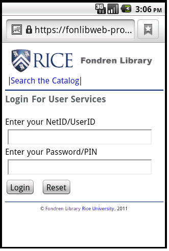 Figure 2: User Services page