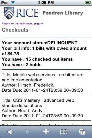 Figure 4: List Checkouts page