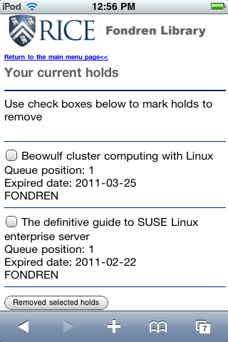 Figure 5: View/Remove Current Holds page