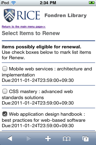 Figure 6: View/Remove Current Holds page