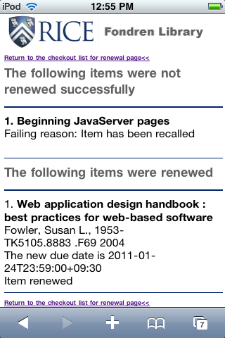 Figure 7: Items Renewed page page