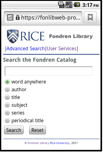 Figure 9: Quick Search page