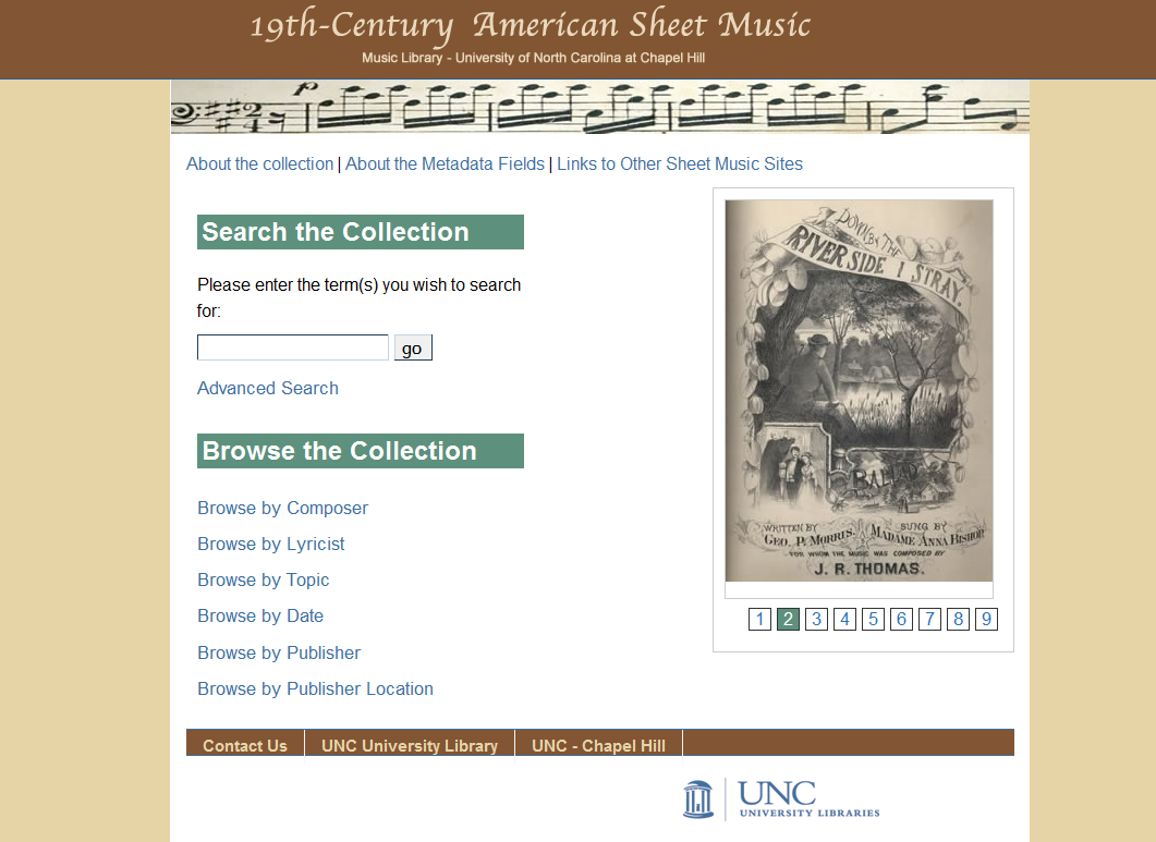 Figure 2: Sheet music collection opening screen