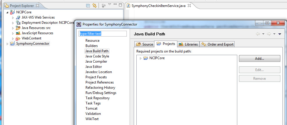Figure 11. Adding the NCIPCore project to the build path of the Symphony Connector project