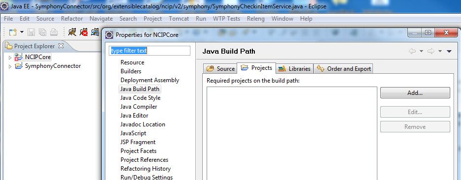 Figure 12. Projects on the build path of the NCIPCore project