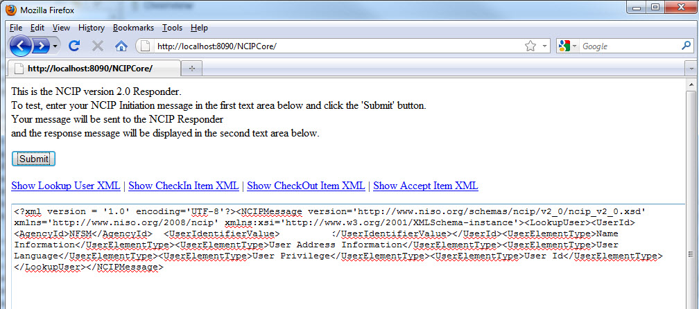 Figure 14. A modified version of the Toolkit test page