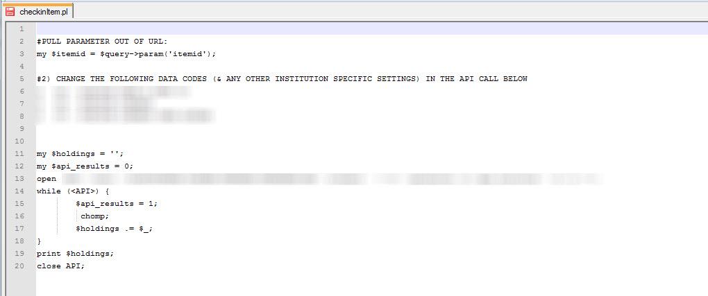 Figure 16. Perl script that calls the proprietary SirsiDynix API