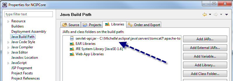 Figure 4. Add the service-api.jar file to the build path of the project