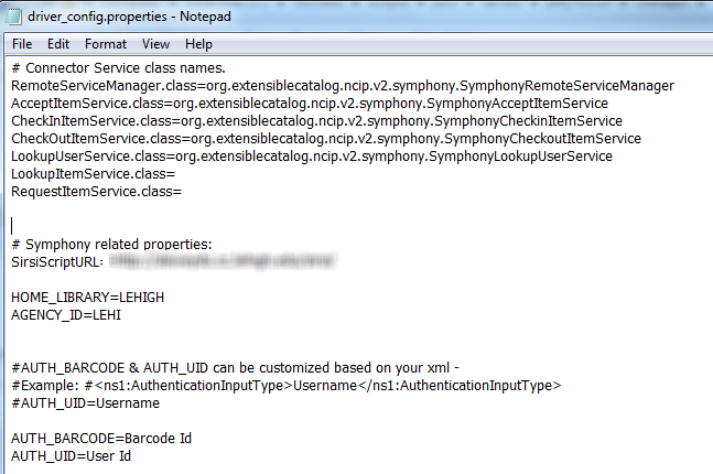 Figure 9. driver_config.properties file for the Symphony connector