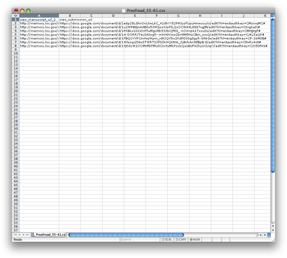 Figure 2. One of our CSV files used to submit multiple=