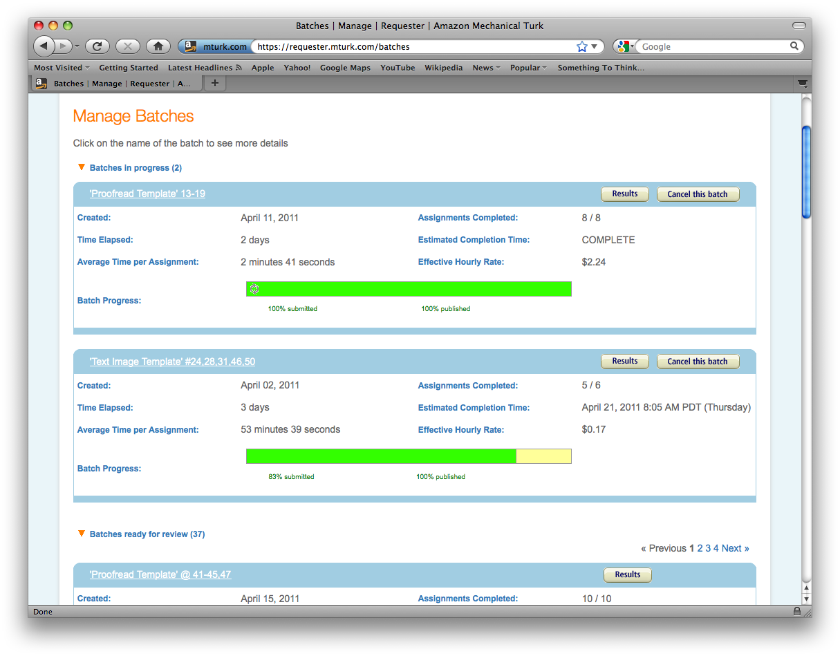 Figure 3. Managing batches in Amazon Mechanical Turk.