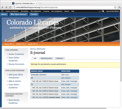 screenshot of Colorado Libraries showing menus and table of published volumes and issues