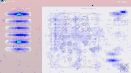Figure 10: Heatmap of all control-element touches between Jan. 20, 2011 and July 21, 2011