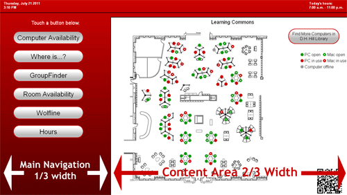 Figure 1: Basic kiosk layout and screen division
