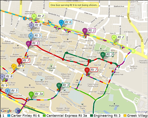 Figure 3: Campus bus map application as configured for kiosk. Note the absence of a zoom slider