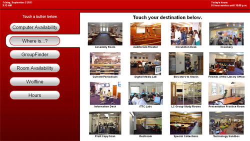 Figure 4: Wayfinding display, destination selection