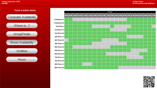 Figure 6: Group study room availability display in attract mode