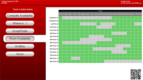 Figure 7: Group study room availability display in interactive mode. Note the visual cues on the content selector button to indicate the selected content area and the fact that the display is in interactive mode