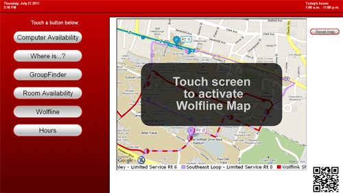 Figure 8: Campus bus map display in attract mode
