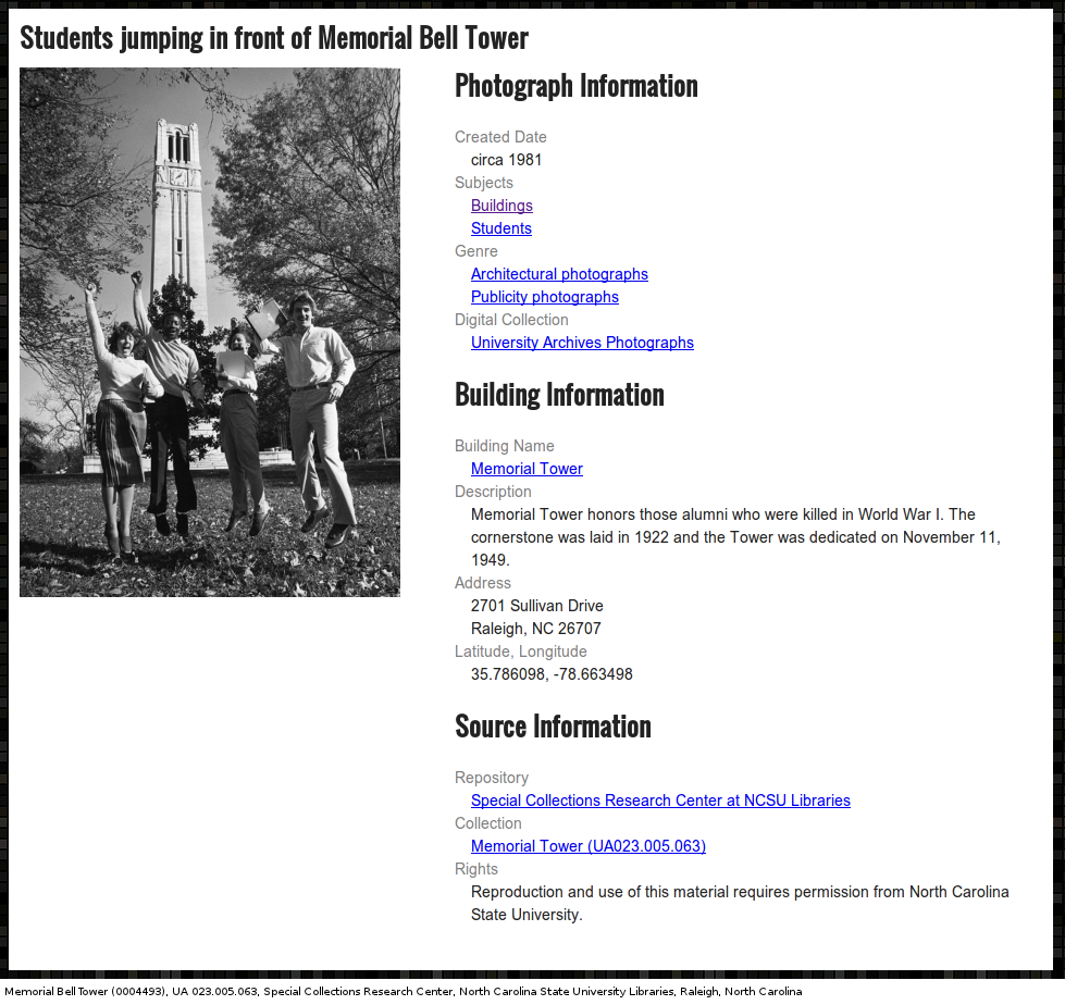 Screenshot of page for digital photograph