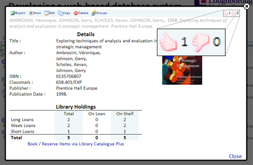 Academic Dashboard Ratings Tool