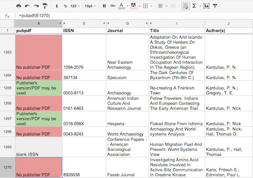 example spreadsheet column with function pubpdf() run