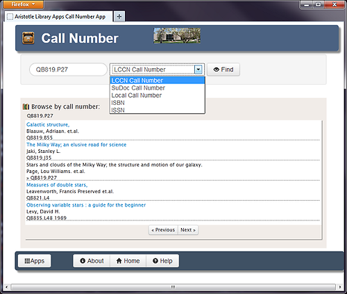 Figure 3. Screenshot of the Call Number App