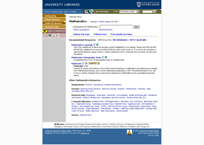 Figure 1: Mathematics Subject Guide Created with MyLibrary