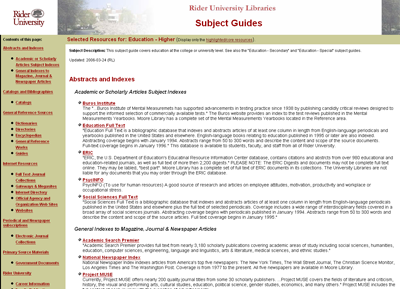 Figure 3: Higher Education Subject Guide Created with LibData