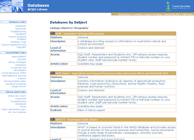Figure 4: Geography Subject Guide Created using ResearchGuide