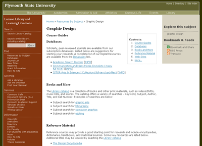 Figure 6: Graphic Design Subject Guide Built using Scriblio
