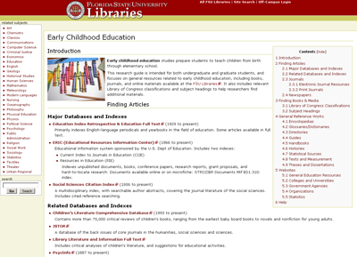 Figure 7: Early Childhood Education Subject Guide Built Using a Wiki