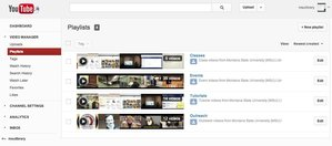 Figure 3. YouTube Video Manager interface applying playlists as subject categories