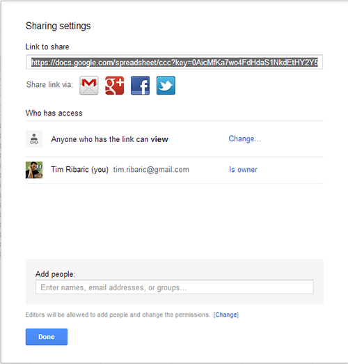 Google form share settings