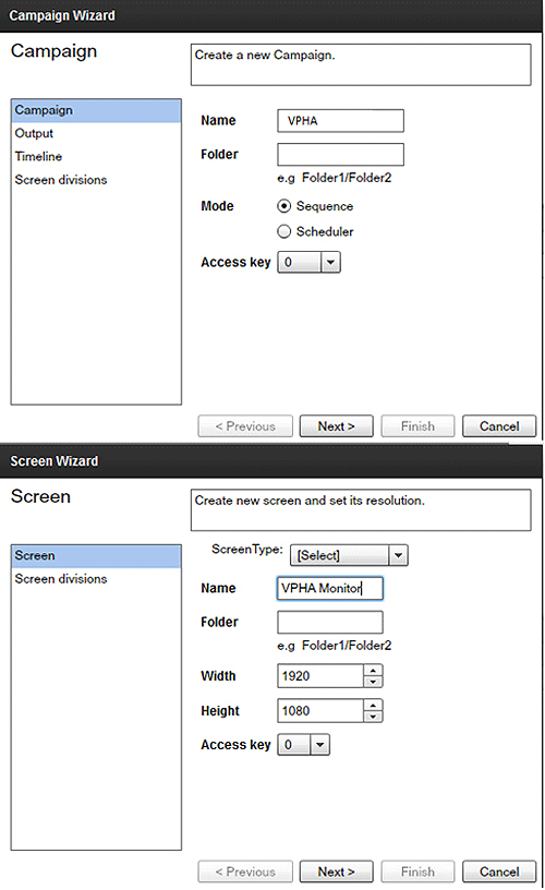 Figure 1: VPHA Campaign and Screen Settings