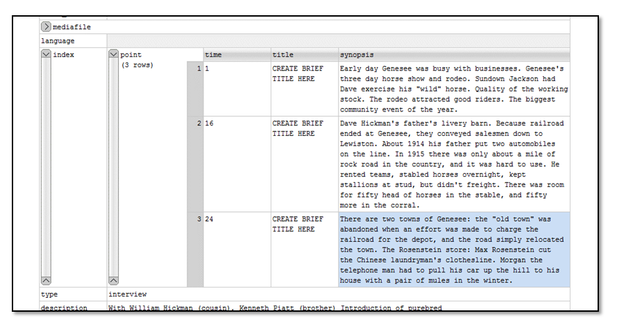 Screenshot from oXygen editor of XML file looking at a point (timestamp, title, synopsis), created by students.