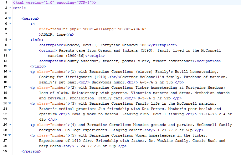 Initial XML file generated from the guide to the original collection.