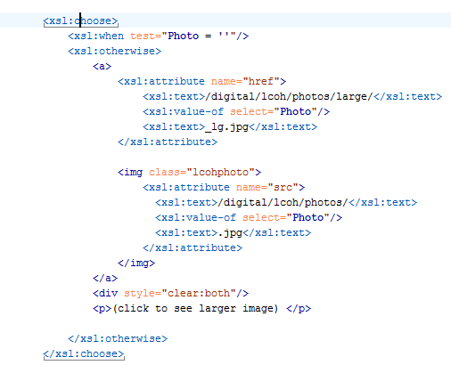XSL Choose code for adding a picture to a page.