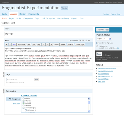 Sample WordPress Entry for JSTOR