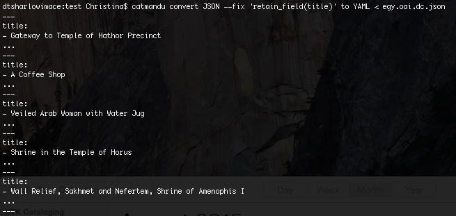 Figure. Screenshot of CLI output for above command asking for Title only