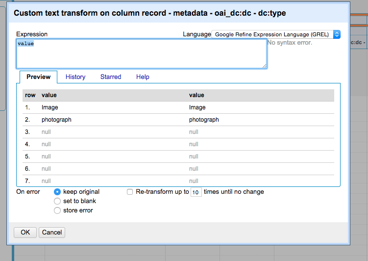 Figure. Screenshot of the Custom Text Transform interface in LODRefine